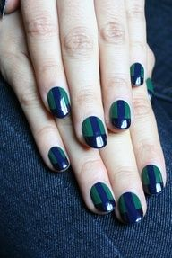 Deconstructed Gunn clan plaid / tartan nail art design in green blue black (by ManicMonday)