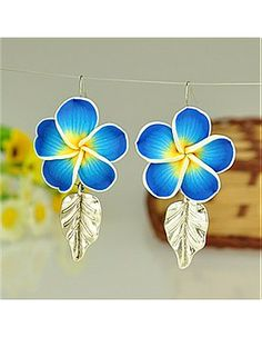 Fashion Tibetan Style Earrings, with Handmade Polymer Clay Flower Beads and Brass Earring Hooks, DodgerBlue, 65mm