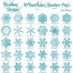 Stradling Designs 30 Snowflake Photoshop Brushes + Pngs
