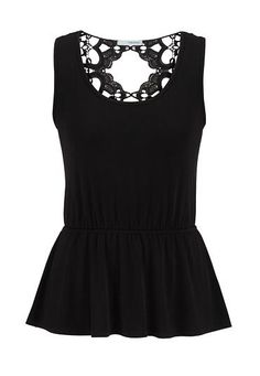open lace back peplum tank (original price, $26) available at #Maurices