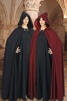 Medieval Style Hooded Cloak No. 17 with Leather Fastener    Our hooded cloak from 100% natural cotton includes a fully satin-lined hood and a