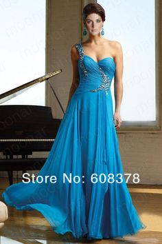 Aliexpress.com : Buy Elegant Women One shoulder beaded Formal Gowns Party Wedding Cocktail evening Long chiffon dress L094 from Reliable chiffon dress suppliers on Joywedding Dresses