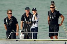 Team New Zealand skipper Dean Barker gets that winning feeling as Kate steers his yacht to a win over husband Prince William.