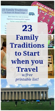 23 Family Traditions to Start on Road Trips w/free list! - road trip tips and hacks along with great ways to create family vacation memories and free printable checklist of traditions to start when traveling! Road Trip With Kids, Family Road Trips, Traditions To Start, Family Traditions, Toddler Travel, Travel With Kids, Best Family Vacations, Family Travel, Family Destinations