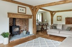 frames and borders Manor Houses - Border Oak - oak framed houses, oak framed garages and structures. Cottage Living Rooms, Cottage Interiors, Cottage Homes, Home Living Room, Living Room Decor, Bedroom Decor, Log Burner Living Room, Living Room With Fireplace, Border Oak