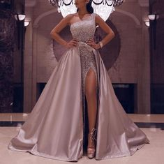 [New In] Fashion One Shoulder HIgh Slit Dress - Kleider - Fashion evening &wedding dresses for women, good choice for party, beautiful design and plus size y - African Prom Dresses, African Wedding Dress, Pretty Prom Dresses, Ball Dresses, Elegant Dresses, Ball Gowns, Beautiful Dresses, Dress Wedding, Wedding Reception