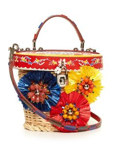 Dolce & Gabbana Majolica-print leather and wicker basket bag