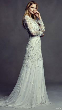 BHLDN Bohemian Beauty bridal may 2016 illusion long sleeves jewel neck trumpet wedding dress (tabitha) mv. Long sleeves wedding dress.