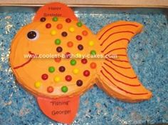 Homemade Fish Cake: This fish cake was made for my uncle who loves to fish and who my children named Fishing George instead of Great Uncle George. I used a cake mix and made