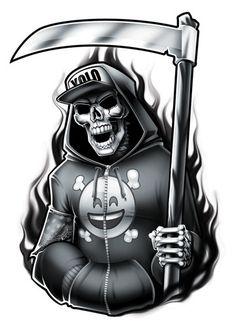 Black and Grey Yolo Reaper Temporary Tattoo