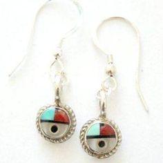 Native American Zuni Jewelry SunFace Sterling Wire Earrings