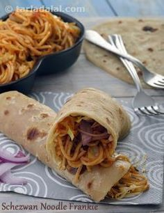 Noodles and Frankies, two all-time favourite street foods come together in this innovative snack! Noodles, tossed with peppy Schezwan sauce and crunchy veggies, makes an exciting filling for rotis.    Ingredients like chilli sauce, shredded veggies, cheese and chaat masala add more punch to the filling, making the Schezwan Noodle Frankie an absolutely mouth-watering affair.
