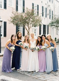I like the different shades/types of bridesmaids dresses - would be pretty with shades of pink