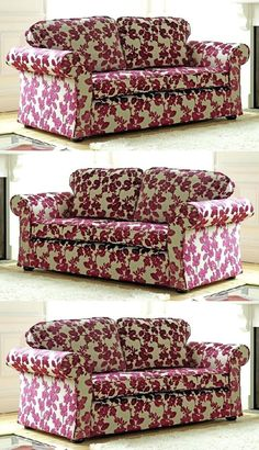 Upholstered Floral Sofa With Bright Pink Flowers On A