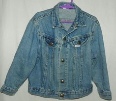 3ea89e64b4f6 Details about Vintage Lee Rider jean Jacket Denim Coat Youth Size 18 USA  80's Unisex Trucker. Kids Clothes ...