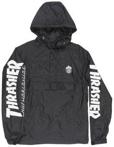 HUF x Thrasher TDS Anorak Pullover Hoodie Windbreaker Outerwear Fashion Black