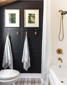 Such a cool bold bathroom by From the millwork to the wall color to the shower fixtures and that plaid tile floor. this bathroom is full of inspiration! Master Bath Shower, Master Bathroom, Bathroom Stand, Budget Bathroom, Small Bathroom, Bathroom Ideas, Bathroom Designs, Today Is Friday, Jenna Sue