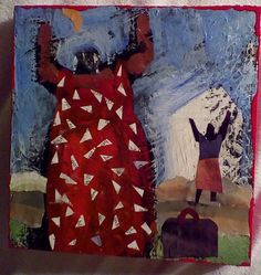 'Sister's Come Home'. mixed media 5.5 x 5.5 on wood. lucy hunnicutt