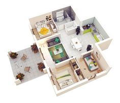 20 Designs Ideas for Apartment or One-Storey Three Bedroom Floor Plans - Country Home Decor Rustic Apartment Floor Plans, Bedroom Floor Plans, Three Bedroom House Plan, Bedroom House Plans, Sims House Plans, House Floor Plans, Arranging Bedroom Furniture, One Storey House, Bedroom Arrangement