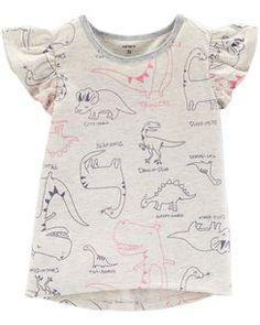 9effdcca4d07f Dinosaur Flutter-Sleeve Hi-Lo Tee Kids Outfits Girls