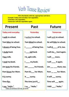 Revision of verb tenses Present, Past, and Future worksheet - Free ESL printable worksheets made by teachers English Grammar Tenses, Teaching English Grammar, English Grammar Worksheets, English Verbs, Grammar Lessons, English Vocabulary, Future Tense Verbs, Present Tense Verbs, Simple Present Tense
