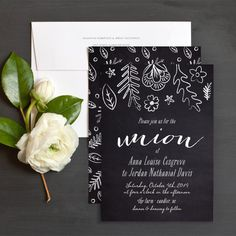 Chalkboard Union Wedding Invitations by Olivia Raufman | Elli