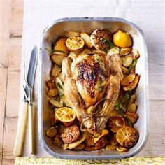 Roast lemony tarragon chicken with juicy new potatoes