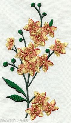 CALICO FLOWER SPRAY - 2 EMBROIDERED HAND TOWELS by Susan