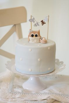 owl cake babyshower by petite homemade