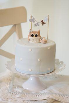 owl cake babyshower by petite homemade