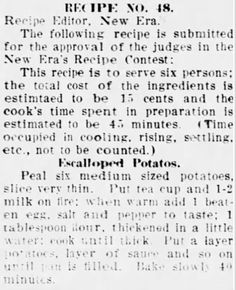 Clipping found in Hot Springs New Era in Hot Springs, Arkansas on Jun Potato Dishes, Vegetable Dishes, Potato Recipes, Cabbage Recipes, Best Roast Potatoes, Whole Food Recipes, Cooking Recipes, Beef Barley Soup, Vintage Baking