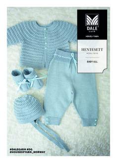 Hentesett Finnes flere mønster her Crochet Baby Mittens, Baby Booties Knitting Pattern, Baby Boy Knitting Patterns, Baby Sweater Patterns, Knit Baby Sweaters, Baby Patterns, Baby Overalls, Baby Pants, Baby Leggings Pattern
