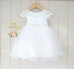 Ivory soft White Lace baby Girls Christening Dress Baptism