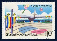 THE TAEJON EXPO`93, government pavilion, commemoration, blue, white, 1993 08 07, 대전엑스포 `93기념, 1993년 08월 07월, 1726, 정부관, postage 우표