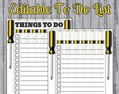 50% Off! To Do List Instant Download Weekly Planner Screwdriver Check List Fathers Day Editable PDF Organization DIY Teacher Gift