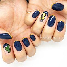 Navy blue nail art from MARIE NAILS LA location