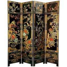 Ornately hand-painted wood frames create the Oriental Furniture 6 ft. Four Seasons Flowers Room Divider , drawing inspiration from classical Asian. Wood Room Divider, 4 Panel Room Divider, Sliding Room Dividers, Decorative Screens, Decorative Items, Asian Room, Lacquer Furniture, Furniture Decor, Painting Furniture