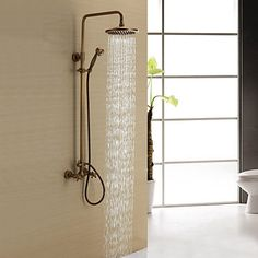 Antique Brass Shower Faucet with 8 inch Shower Head + Hand Shower 2016 – $193.59