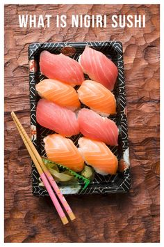 Nigiri is a type of sushi that comprises of raw or grilled seafood over a ball of sushi rice. Read on to explore this unique type of sushi in more detail. Easy Chinese Recipes, Greek Recipes, Mexican Food Recipes, Japanese Recipes, Ethnic Recipes, Types Of Sushi, Nigiri Sushi, Homemade Sushi, Grilled Seafood