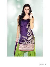 Purple and Green Full Sleeve Velvet Punjabi Salwar Kameez 22216 Indian Suits, Indian Attire, Indian Dresses, Indian Wear, Indian Clothes, Latest Indian Fashion Trends, Indian Fashion Designers, Punjabi Salwar Suits, Salwar Kameez