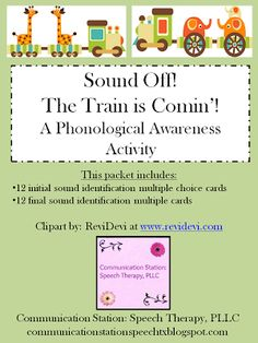 Communication Station: Speech Therapy PLLC: Freebie Friday: Sound Off! The Train is Coming: A phonological awareness game
