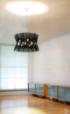 Twig like mesh drum pendant design  |  David D'Imperio Lighting ICFF13