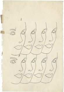"""Andy Warhol's """"Face repeated eight times"""", circa 1958."""