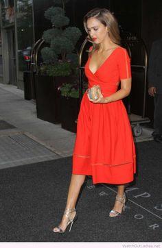 Jessica Alba in a red dress