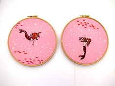 Hand Embroidery Hoop Art  -  A Little Mermaid - Pretty in Pink - ready for display - 7 x 7 Inch  wooden Hoop by mirrymirry.