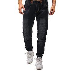 Men Pants Jeans Casual Autumn Denim Cotton Vintage Wash Hip Hop Work Trousers Drawstring Relaxed Fit New Work Jeans, Work Trousers, Trouser Jeans, Slim Jeans, Denim Pants, Stretch Pants, Stretch Denim, Casual Jeans, Men Casual