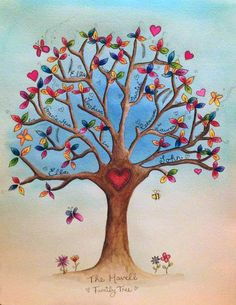 family/memory trees - illustrated by hand original artworks