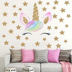unicorn stiker lucu bedroom stickers dinding kamar untuk decals kartun wandaufkleber flamingo animal gambar licorne rooms mural cartoon buat paillette