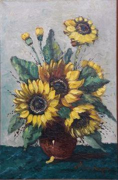 Clement van Vlaardingen 1916-1972 Stilleven met zonnebloemen Techniek: olieverf op doek http://www.plepsart.nl