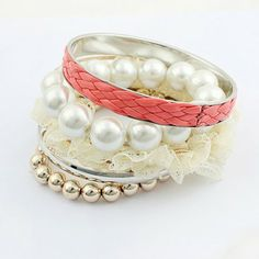 5PCS of Chic Lace and Beaded Bracelets    dresslily.com